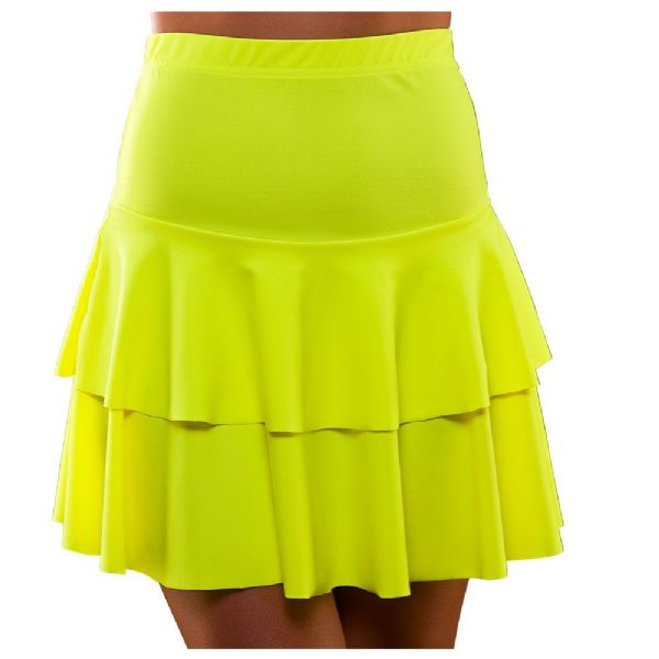 Ladies 80's Neon Ra Ra Skirt - Yellow Fancy Dress Disco Madonna 90s Costume